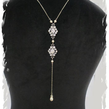 Art Deco Inspired Bridal Back Drop Necklace Luxury Great Gatsby Pearl Crystal Back Jewelry Downton Abbey Backdrop Necklace Swarovski Drop