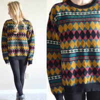 Vintage Saks Fifth Avenue Deadstock Bohemian Sweater Colorful Patterned Retro Hipster Classy Sweater Large Lg L Boho Jumper Tumblr Pullover