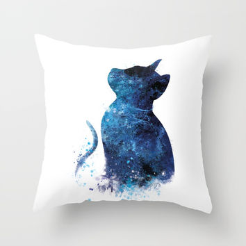 Blue Cat Throw Pillow by monnprint