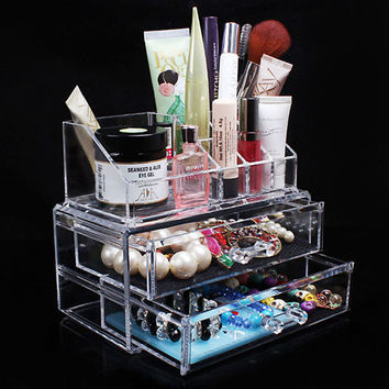 Transparent Acrylic Cosmetic Desk Makeup Organizer Case Storage Drawer Insert Jewelry Box Holder FULI
