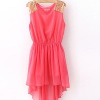 Watermelon Red Sequin Strapless Shoulder High-Low Dress