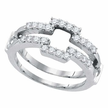 14kt White Gold Women's Round Diamond Square Wrap Ring Guard Enhancer Wedding Band 1/2 Cttw - FREE Shipping (US/CAN)
