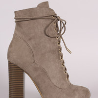 Bamboo Suede Lace Up Chunky Heeled Ankle Boots