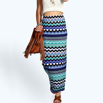 Women Summer Casual Long Skirt Beach Boho Bohemian High Waist Geometric Striped Bodycon Maxi Skirts Women's Clothing