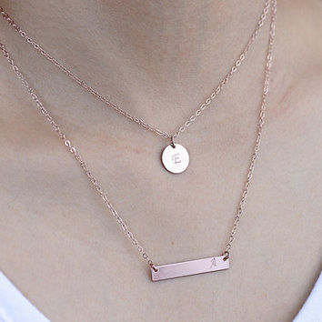 Double Layered Necklace. rose gold initial bar necklace. one personalized disc necklace. mother, sister, friendship, couple necklace.