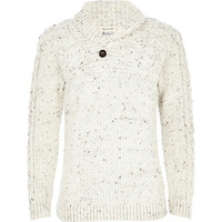 River Island Boys cream flecked knitted sweater