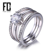 3 Pieces Band Ring Genuine 925 Sterling Silver Ring Sets Prongs Round Cut Cubic Zirconia Setting Outstanding Engagement Wedding