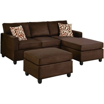 Reversible 3 Piece Sectional Sofa Set In Chocolate Microfiber