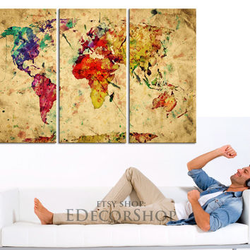Colorful Retro World Map Canvas Art Print - Vintage World Map Canvas Triptych Printing for Home and Wall Decoration