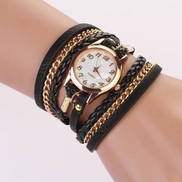 Excellent Quality New Arrival Women Leather Bracelet Watch Women Dress Watches Vintage Quartz Analog WristWatch relojes mujer