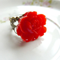 FLOWER ring red rose flower on adjustable filigree vintage base