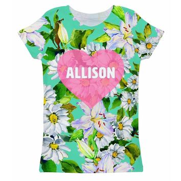 Flower Party Customized NAME Zoe Heart Green Tee - Girls