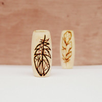 Wooden dreadlock beads - geometric feathers - beadset of 2 - hair beads, dreadlock accessories - dread bead sets with feathers