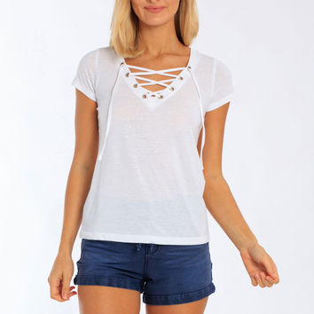 Miami Style® - Women's Lace Up V-Neck T-Shirt