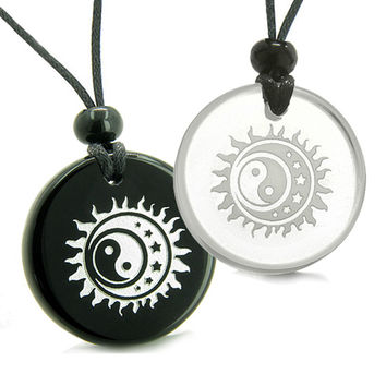 Amulets Love Couple Sun Moon Stars Triple Magic Yin Yang Quartz Black Agate Pendant Necklaces
