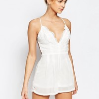 Boohoo Lace Strappy Cami Playsuit