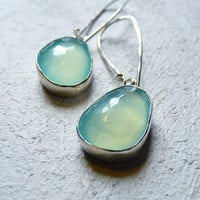 aqua chalcedony earrings rose cut bezel set blue jewelry