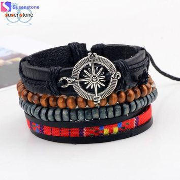 SUSENSTONE New Men's Braided Leather Stainless Steel Cuff Bangle Bracelet Wristband