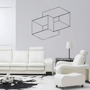 Optical Illusion Nested Cubes vinyl wall decal geometric art removable wall decor