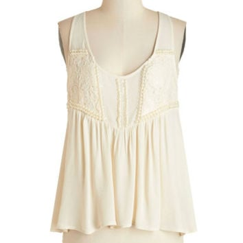 ModCloth Tank top (2 thick straps) The Only Pearl for Me Top