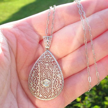 Edwardian Diamond Pendant Necklace, Intricate Lacy Filigree, Paperclip Chain, Solid 14K White Gold, Circa 1910