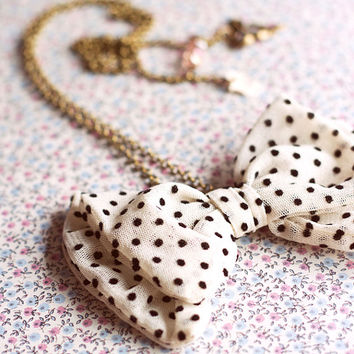 Black And White  Polka Dot - Bow Tie Necklace.White Dots Women Bowtie Retro.Tulle bow pendant.Brass Necklace.Gift for girlfriend.