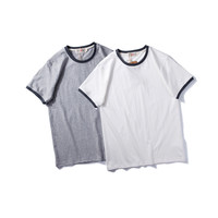 Summer Simple Design Round-neck Cotton Short Sleeve Fashion Casual T-shirts [9790784899]