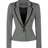 Grey Tailored Peplum Suit Jacket