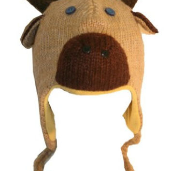DeLux Moose Face Wool Pilot Animal Cap/Hat with Ear Flaps and Poms,Brown,One Size(S)