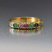 Superb Vintage Gold 'Dearest' Acrostic Band Ring