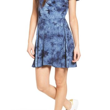 One Clothing Tie Dye Ribbed Faux Wrap Dress | Nordstrom