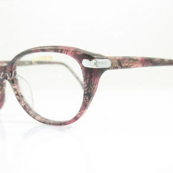 Jil Sander , Vintage Eyeglasses , Dark  Pink and Black , Kitty, Cat Eye, Eyeglass , Sunglass Frames , NOS