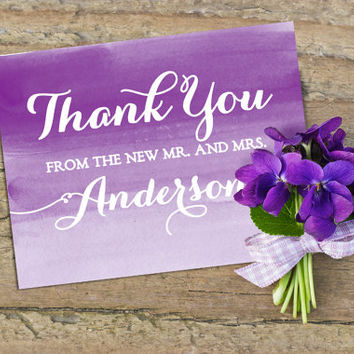Thank You Greeting Card - Watercolor Wedding Thank You Note - Purple Thank You Card - From the New Mr. and Mrs. - Thank You Newlywed Card
