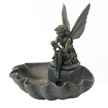 Fairy Water Fountain Indoor Outdoor Electric Garden Pixie Shell Patio Yard New