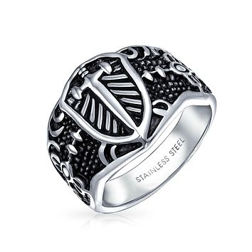 Men Shield Maltase Fleur De Lis Cross Signet Band Ring Stainless Steel