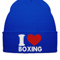 I LOVE BOXING EMBROIDERY HAT - Beanie Cuffed Knit Cap
