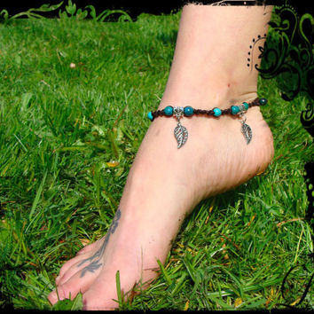 Macrame summer anklet , azurite Chrysocolla and turquoise beads and falling silver leaves