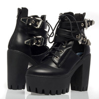 Women Black Platform Ankle Cut Out Gothic Punk Lace Up Chunky Heel Bootie Shoes