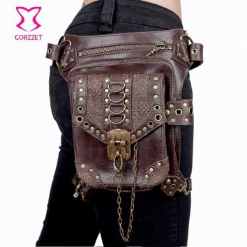Women / Men Brown PU Leather Gothic Rock Leg Bag Steampunk Thigh Holster Bag Shoulder Waist Bag Sexy Vintage Corset Accessories