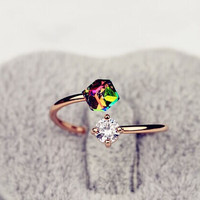 18K Rose Gold Plated Fashion Design Twin Zircon CZ Stone Engagement Rings for Woman