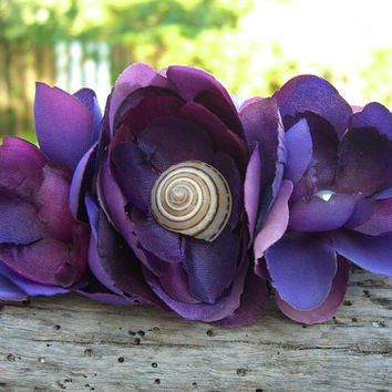 Beach Destination Wedding Hair Fascinator Clip or Comb, Seashell Hair Clip, Regency Purple, Mermaid Dreams, Bridesmaid Hair Clips, Seashells