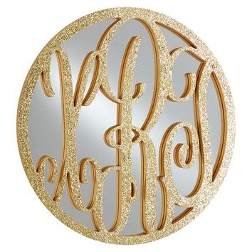 Metalic Script Monogram Mirror