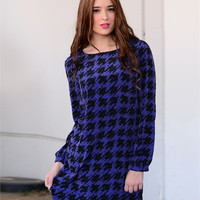 Blue Hounds tooth Amaya Dress