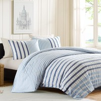 King Size Blue White Navy Stripe Bed in a Bag Seersucker Comforter Set