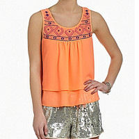GB Embroidered Double Layer Tank - Peach