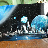 Handmade poster Spray Paint Art NewYork Skyline in Black & Blue colors
