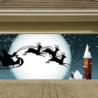 Christmas Garage Door Cover Banners 3d Santa In A Sleigh Holiday Outside Decorations Outdoor Decor for Garage Door G24