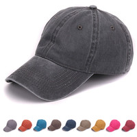 Plain dyed sand washed 100% soft cotton cap blank baseball cap with no embroidery sport mens cap and hat for men and women