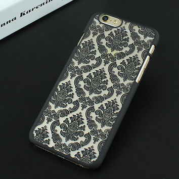 Black Luxury Hard Plastic Damask Vintage Flower Pattern Back Case Cover for iPhone 4 4s 5 5s SE 6 6s 6 Plus 6s Plus 7 & 7 Plus