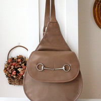 Gucci vintage backpack brown leather horsebit sling bag authentic
